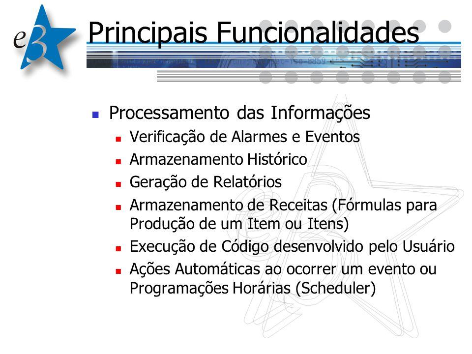Principais Funcionalidades Processamento das Informações Verificação de Alarmes e Eventos Armazenamento Histórico Geração de Relatórios Armazenamento