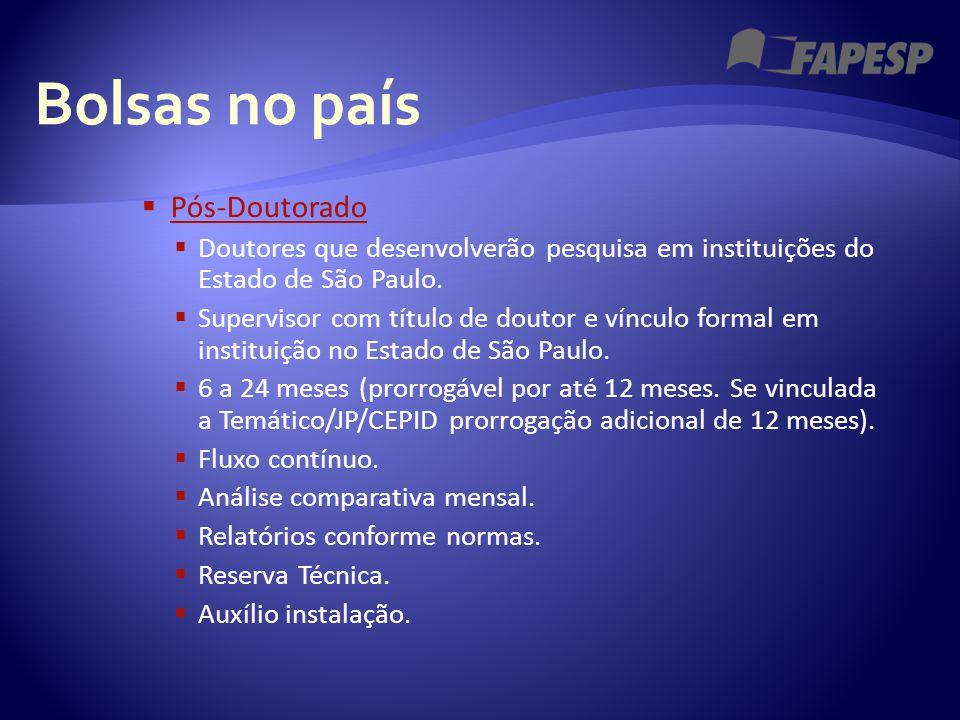 Bolsas no país  Pós-Doutorado Pós-Doutorado  Doutores que desenvolverão pesquisa em instituições do Estado de São Paulo.  Supervisor com título de