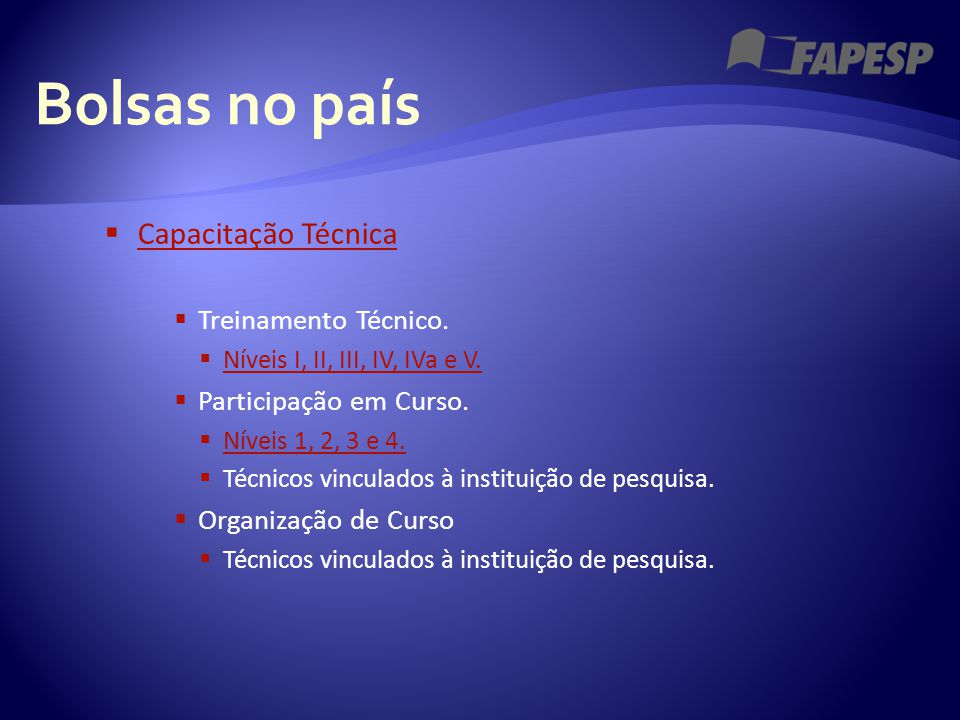 Bolsas no país  Capacitação Técnica Capacitação Técnica  Treinamento Técnico.  Níveis I, II, III, IV, IVa e V. Níveis I, II, III, IV, IVa e V.  Pa