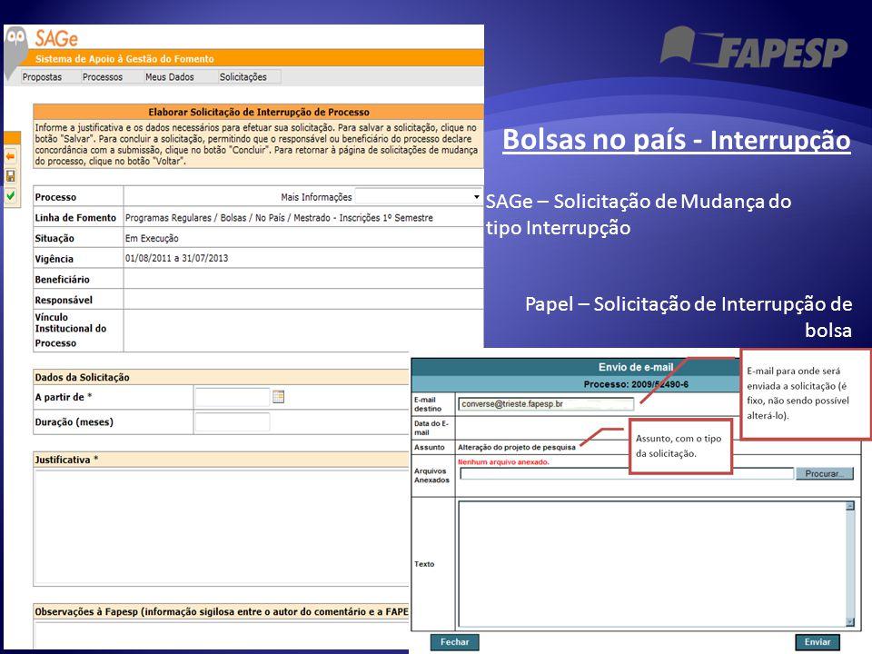 Papel – Solicitação de Interrupção de bolsa SAGe – Solicitação de Mudança do tipo Interrupção Bolsas no país - Interrupção