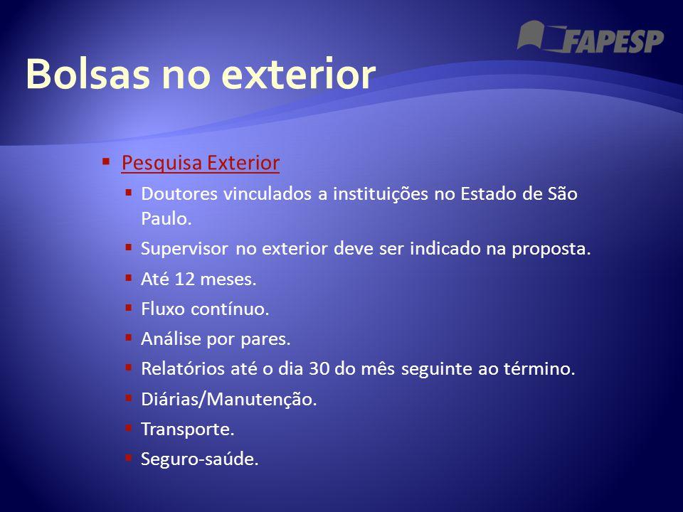 Bolsas no exterior  Pesquisa Exterior Pesquisa Exterior  Doutores vinculados a instituições no Estado de São Paulo.  Supervisor no exterior deve se