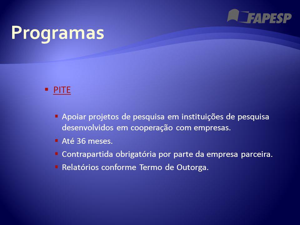 Programas  PITE PITE  Apoiar projetos de pesquisa em instituições de pesquisa desenvolvidos em cooperação com empresas.  Até 36 meses.  Contrapart