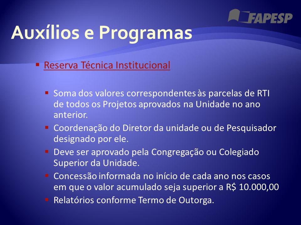 Auxílios e Programas  Reserva Técnica Institucional Reserva Técnica Institucional  Soma dos valores correspondentes às parcelas de RTI de todos os P