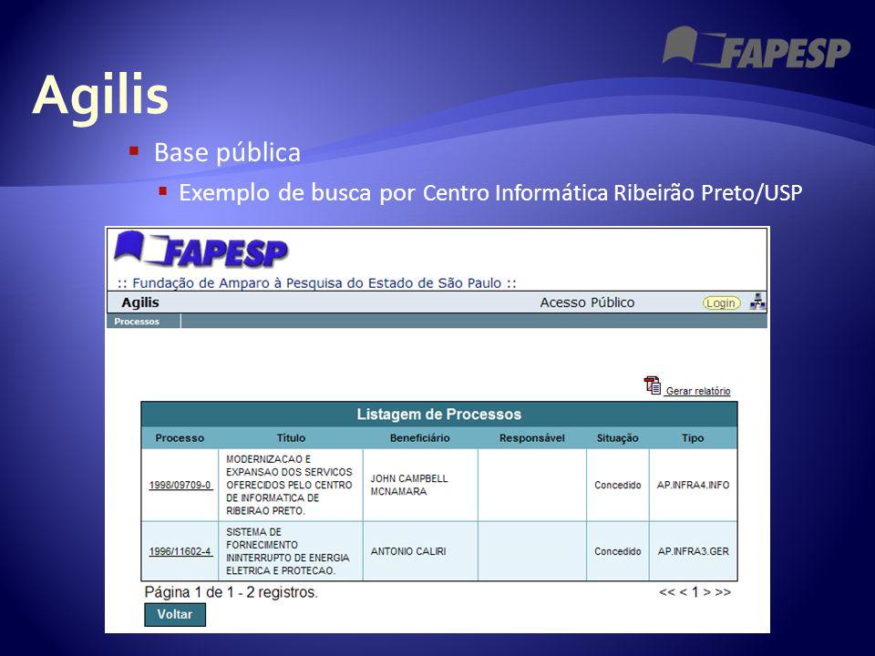 Agilis  Base pública  Exemplo de busca por Centro Informática Ribeirão Preto/USP