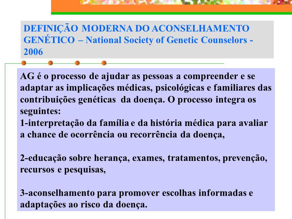 DEFINIÇÃO MODERNA DO ACONSELHAMENTO GENÉTICO – National Society of Genetic Counselors - 2006 AG é o processo de ajudar as pessoas a compreender e se a