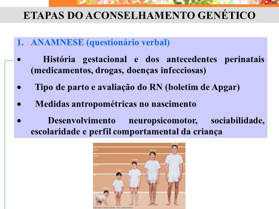 ETAPAS DO ACONSELHAMENTO GENÉTICO 1.ANAMNESE (questionário verbal)  História gestacional e dos antecedentes perinatais (medicamentos, drogas, doenças