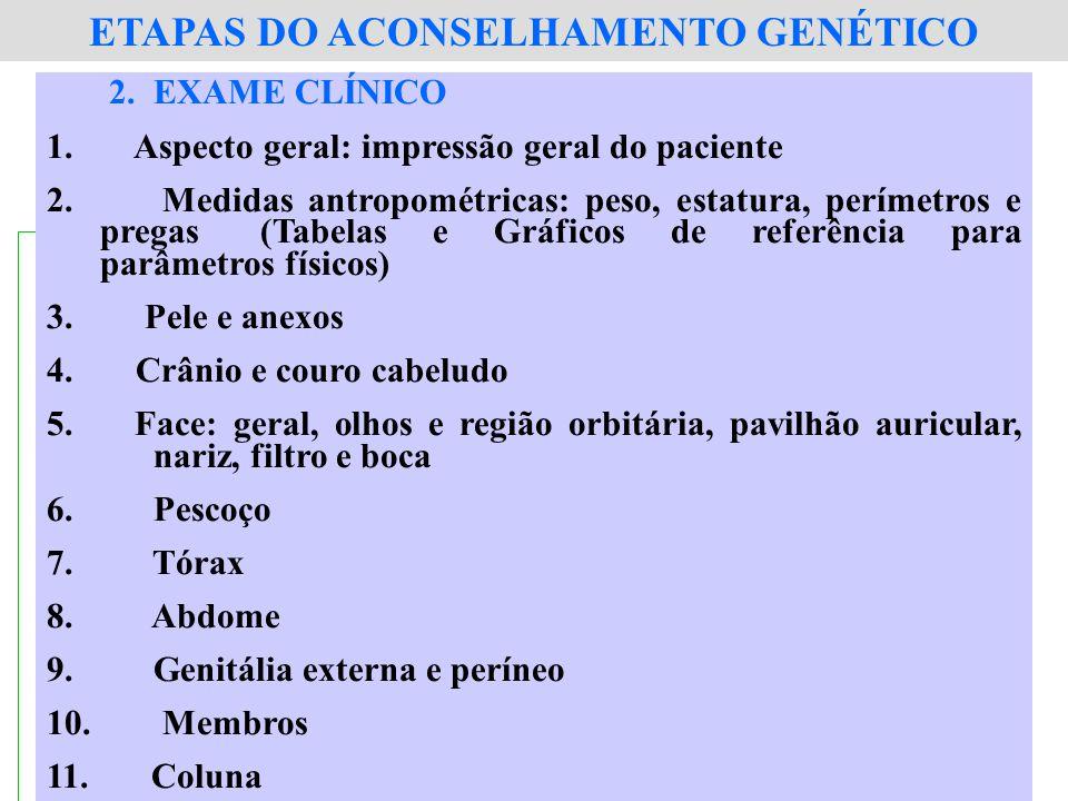 2.EXAME CLÍNICO 1. Aspecto geral: impressão geral do paciente 2. Medidas antropométricas: peso, estatura, perímetros e pregas (Tabelas e Gráficos de r