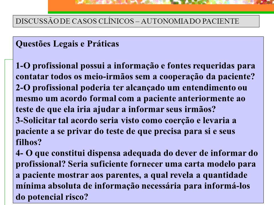 DISCUSSÃO DE CASOS CLÍNICOS – AUTONOMIA DO PACIENTE Questões Legais e Práticas 1-O profissional possui a informação e fontes requeridas para contatar
