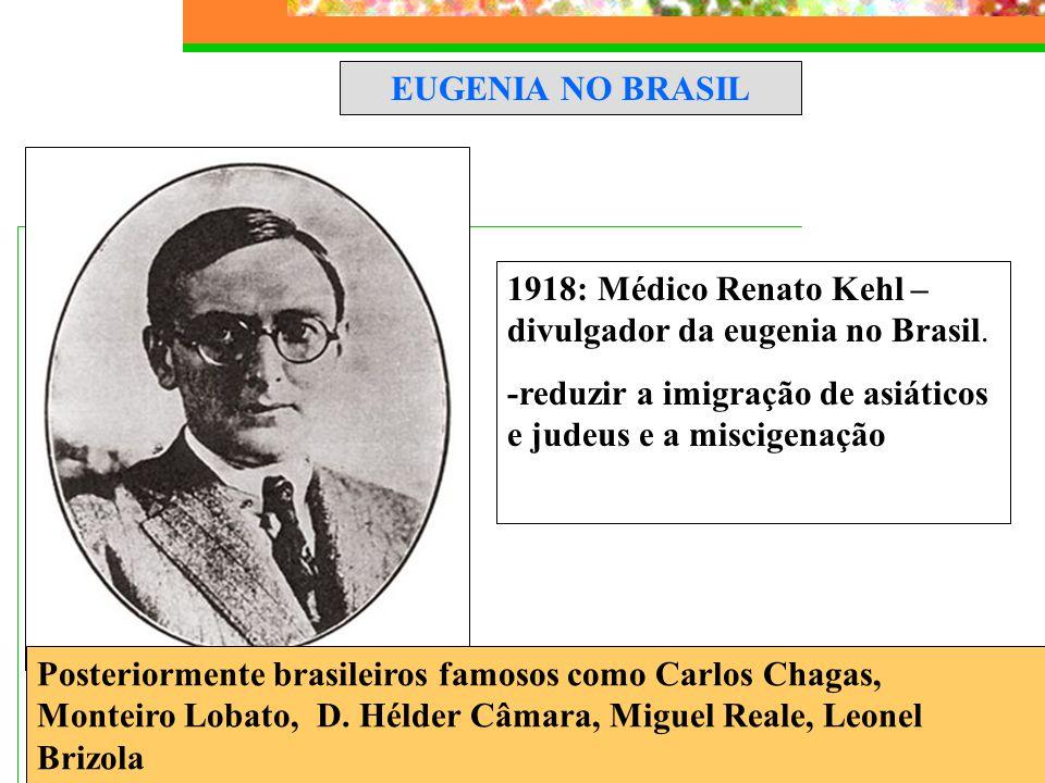 EUGENIA NO BRASIL Posteriormente brasileiros famosos como Carlos Chagas, Monteiro Lobato, D. Hélder Câmara, Miguel Reale, Leonel Brizola 1918: Médico