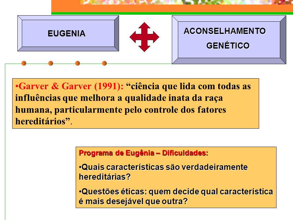 EUGENIA Programa de Eugênia – Dificuldades: Quais características são verdadeiramente hereditárias?Quais características são verdadeiramente hereditár
