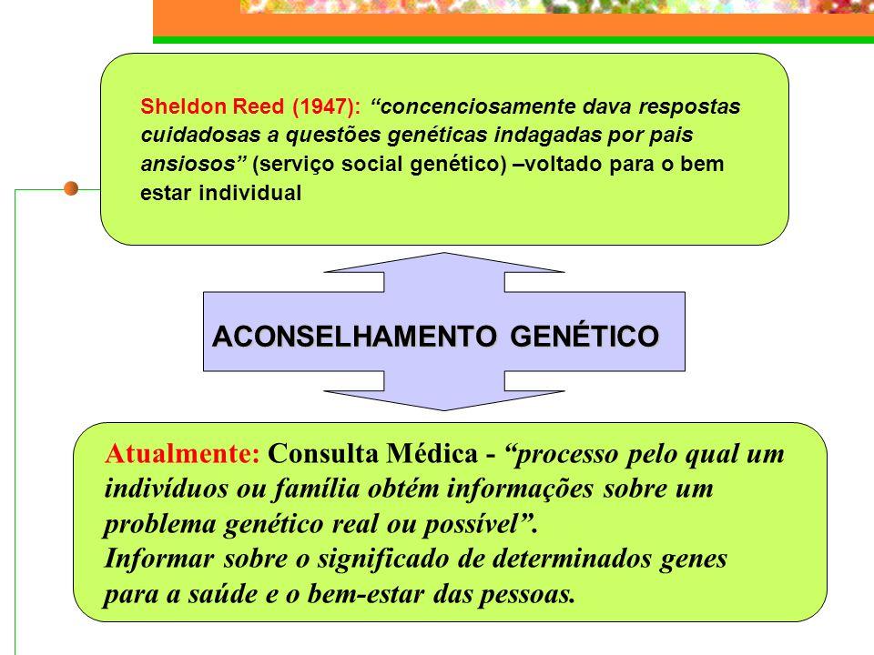 ETAPAS DO ACONSELHAMENTO GENÉTICO 1.ANAMNESE (questionário verbal)  Identificação do paciente  Motivo da consulta  História familiar (heredograma: 3 gerações  consanguinidade, doenças genéticas, defeitos congênitos, RM, abortos, partos prematuros, etnia da família)  Idade dos pais na época da concepção (idade paterna avançada > 40 anos  mutações novas)  Idade de aparecimento dos sintomas (nem todas as patologias são congênitas).