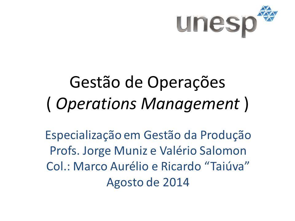 Gestão de Operações ( Operations Management ) Especialização em Gestão da Produção Profs. Jorge Muniz e Valério Salomon Col.: Marco Aurélio e Ricardo