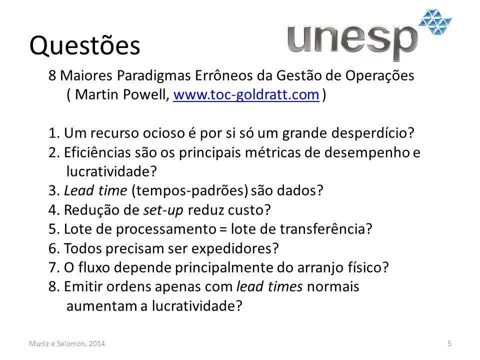 Questões 5 8 Maiores Paradigmas Errôneos da Gestão de Operações ( Martin Powell, www.toc-goldratt.com )www.toc-goldratt.com 1. Um recurso ocioso é por