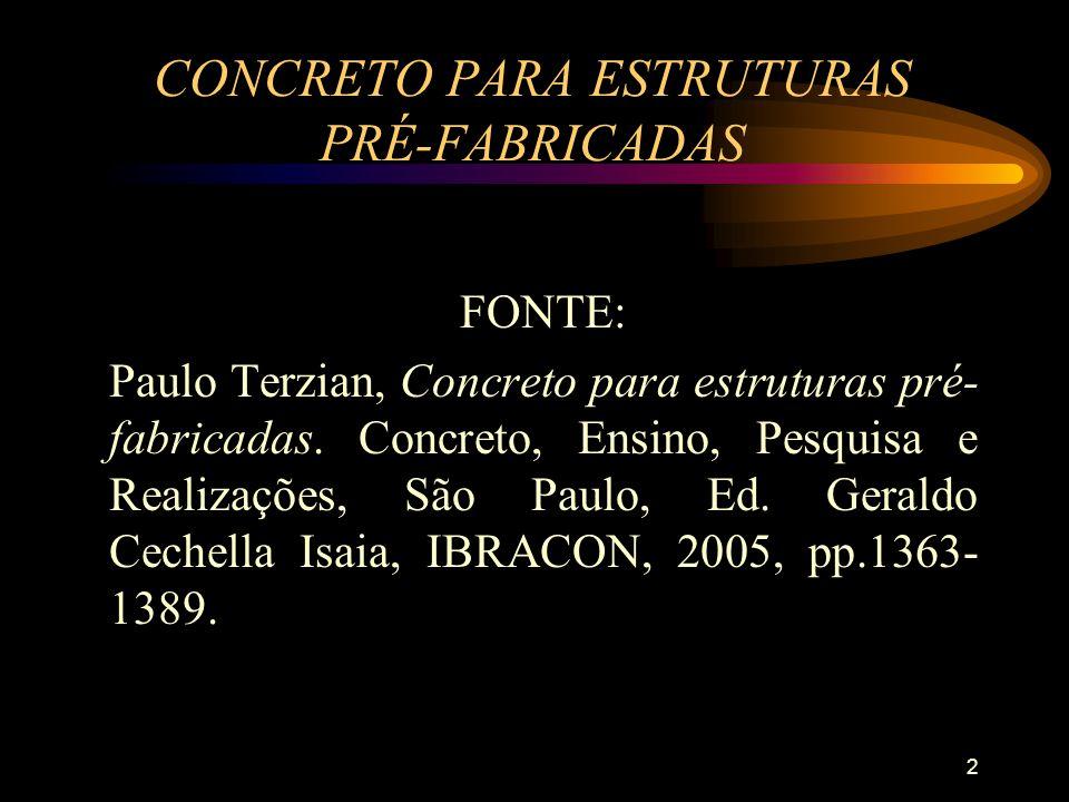 2 CONCRETO PARA ESTRUTURAS PRÉ-FABRICADAS FONTE: Paulo Terzian, Concreto para estruturas pré- fabricadas. Concreto, Ensino, Pesquisa e Realizações, Sã