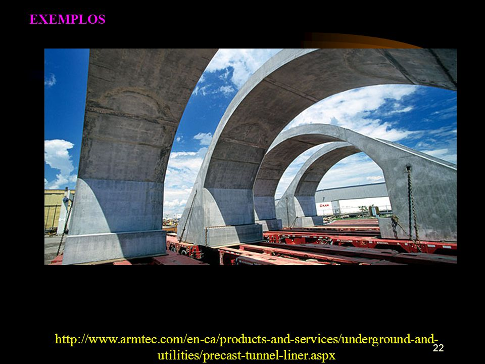 22 http://www.armtec.com/en-ca/products-and-services/underground-and- utilities/precast-tunnel-liner.aspx EXEMPLOS
