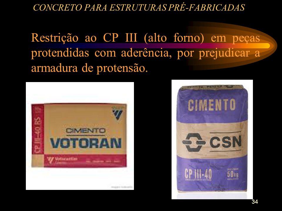 34 CONCRETO PARA ESTRUTURAS PRÉ-FABRICADAS Restrição ao CP III (alto forno) em peças protendidas com aderência, por prejudicar a armadura de protensão