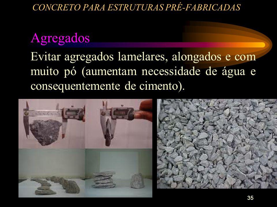 35 CONCRETO PARA ESTRUTURAS PRÉ-FABRICADAS Agregados Evitar agregados lamelares, alongados e com muito pó (aumentam necessidade de água e consequentem