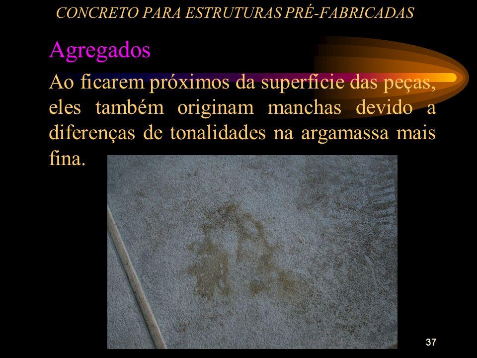 37 CONCRETO PARA ESTRUTURAS PRÉ-FABRICADAS Agregados Ao ficarem próximos da superfície das peças, eles também originam manchas devido a diferenças de