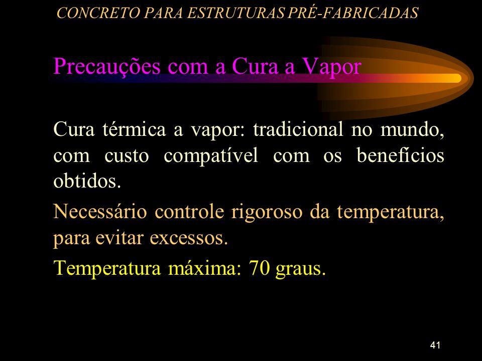 41 CONCRETO PARA ESTRUTURAS PRÉ-FABRICADAS Precauções com a Cura a Vapor Cura térmica a vapor: tradicional no mundo, com custo compatível com os benef