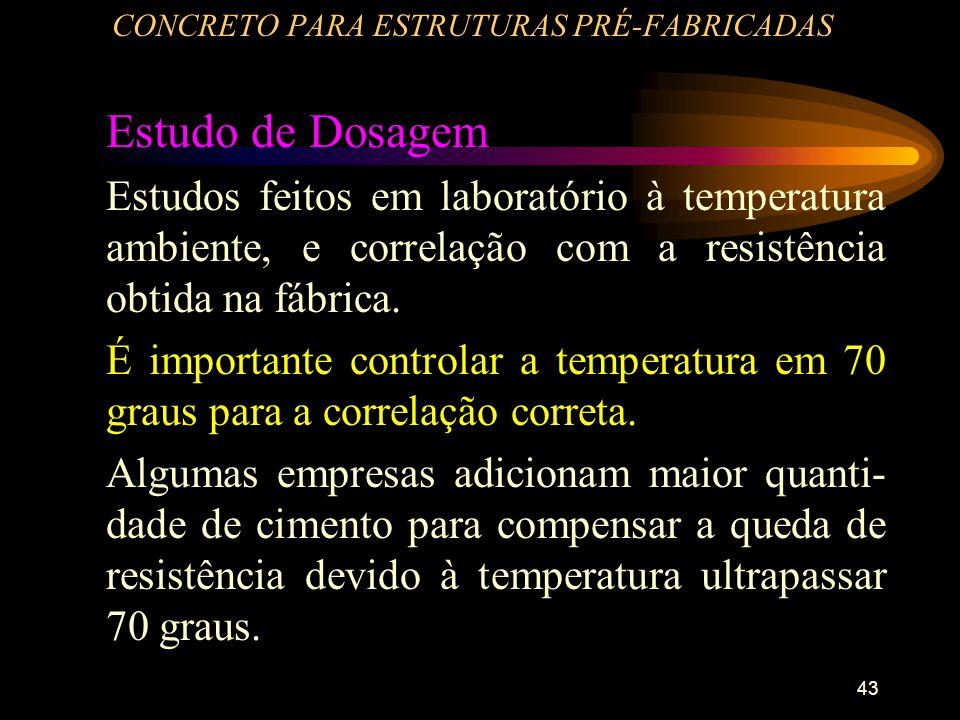 43 CONCRETO PARA ESTRUTURAS PRÉ-FABRICADAS Estudo de Dosagem Estudos feitos em laboratório à temperatura ambiente, e correlação com a resistência obti