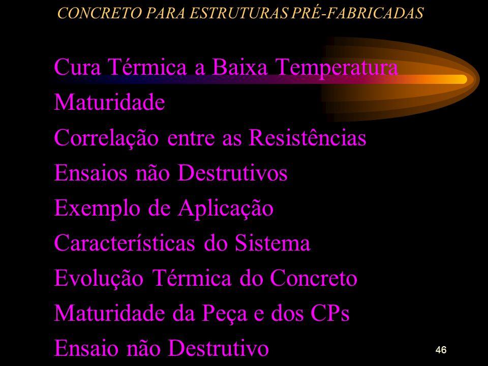 46 CONCRETO PARA ESTRUTURAS PRÉ-FABRICADAS Cura Térmica a Baixa Temperatura Maturidade Correlação entre as Resistências Ensaios não Destrutivos Exempl