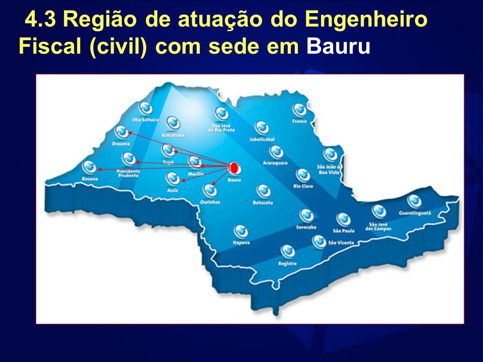 4.3 Região de atuação do Engenheiro Fiscal (civil) com sede em Bauru