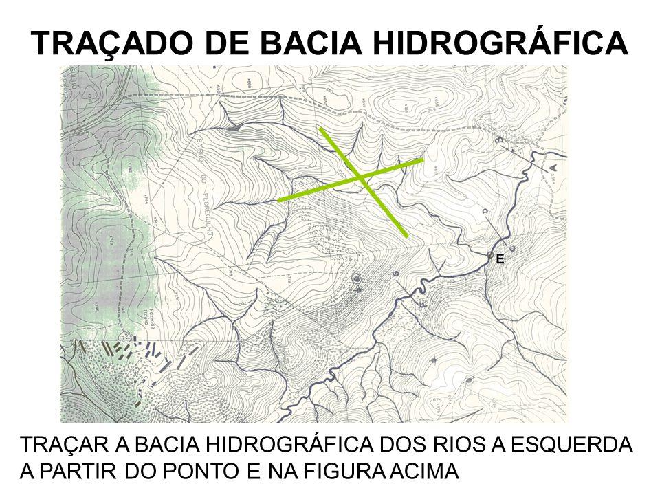 TRAÇADO DE BACIA HIDROGRÁFICA TRAÇAR A BACIA HIDROGRÁFICA DOS RIOS A ESQUERDA A PARTIR DO PONTO E NA FIGURA ACIMA