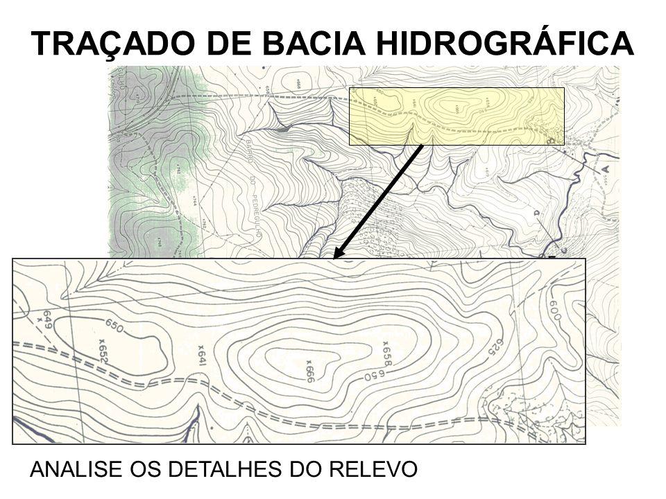TRAÇADO DE BACIA HIDROGRÁFICA ANALISE OS DETALHES DO RELEVO