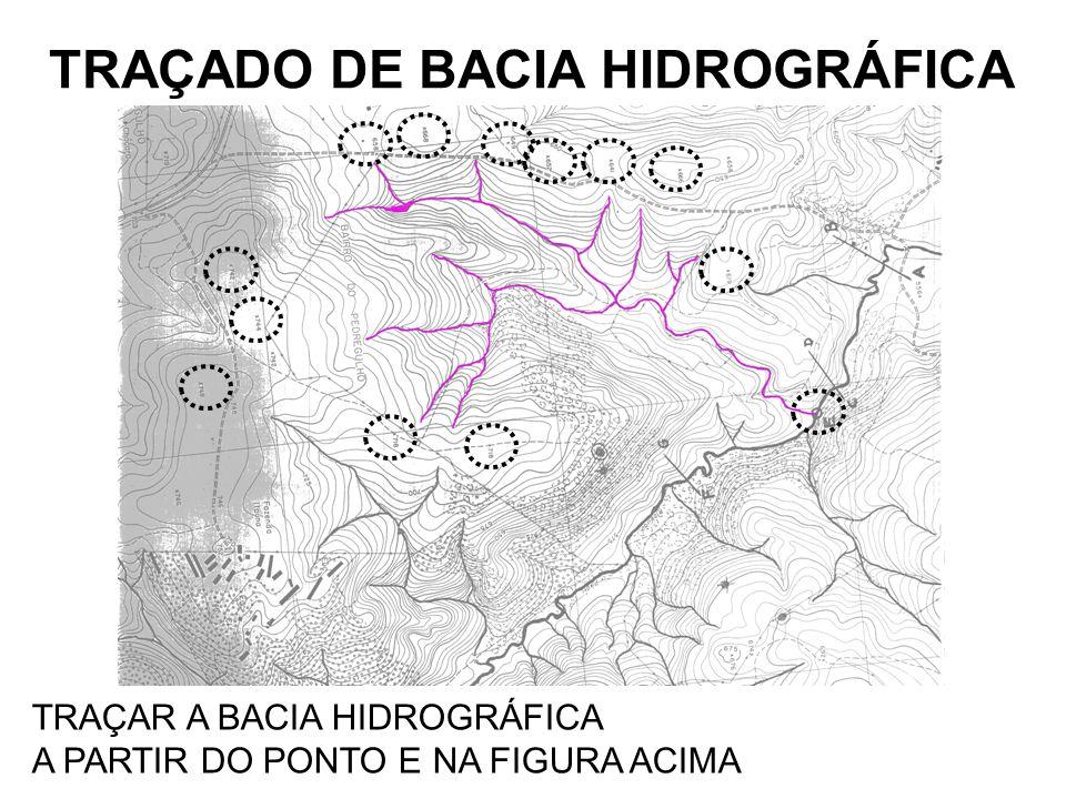 TRAÇADO DE BACIA HIDROGRÁFICA TRAÇAR A BACIA HIDROGRÁFICA A PARTIR DO PONTO E NA FIGURA ACIMA