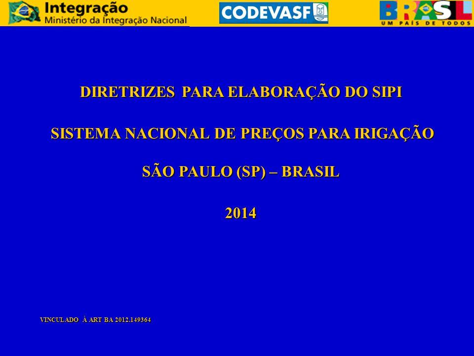DIRETRIZES PARA ELABORAÇÃO DO SIPI SISTEMA NACIONAL DE PREÇOS PARA IRIGAÇÃO SÃO PAULO (SP) – BRASIL SISTEMA NACIONAL DE PREÇOS PARA IRIGAÇÃO SÃO PAULO
