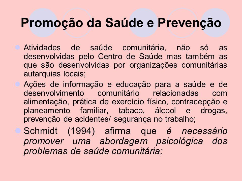 Promoção da Saúde e Prevenção Atividades de saúde comunitária, não só as desenvolvidas pelo Centro de Saúde mas também as que são desenvolvidas por or