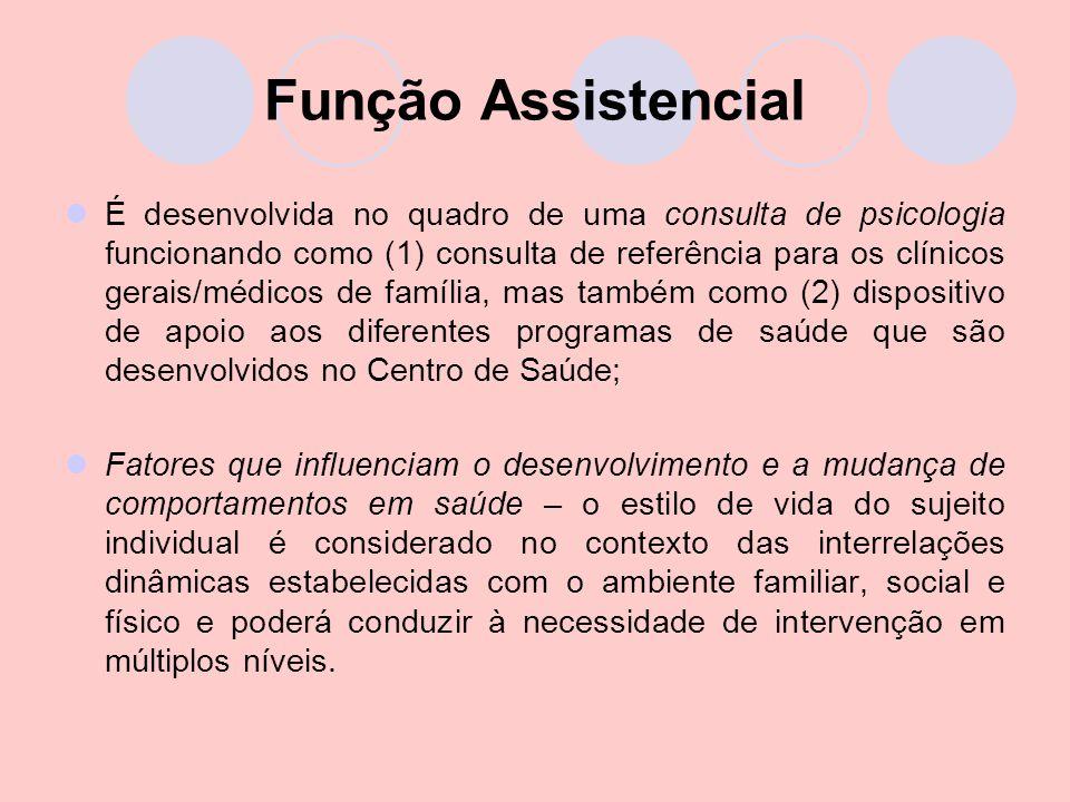 Função Assistencial É desenvolvida no quadro de uma consulta de psicologia funcionando como (1) consulta de referência para os clínicos gerais/médicos