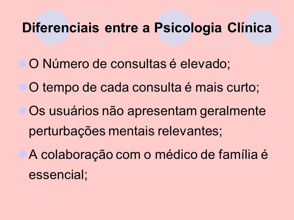 Diferenciais entre a Psicologia Clínica O Número de consultas é elevado; O tempo de cada consulta é mais curto; Os usuários não apresentam geralmente perturbações mentais relevantes; A colaboração com o médico de família é essencial;