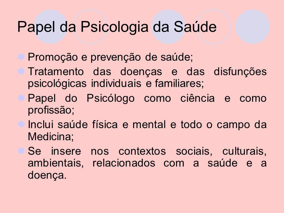 Papel da Psicologia da Saúde Promoção e prevenção de saúde; Tratamento das doenças e das disfunções psicológicas individuais e familiares; Papel do Ps