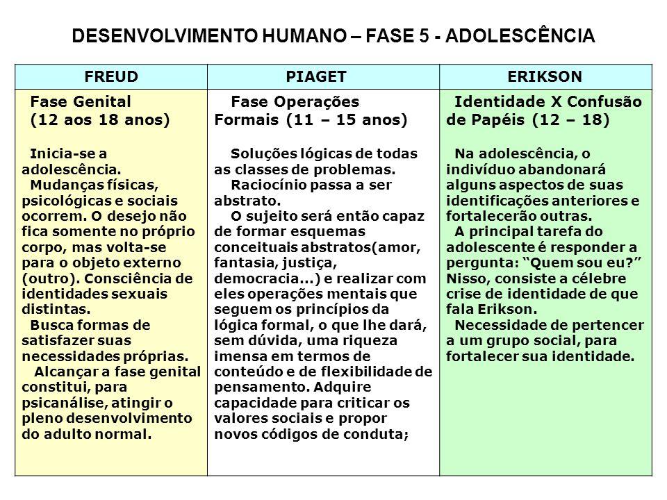 3 DESENVOLVIMENTO HUMANO – FASE 5 -Adolescência FREUD PIAGETERIKSON Fase Genital (12 aos 18 anos) O homem normal não só se realizará na genitalidade específica, como o fará num sentido amplo.