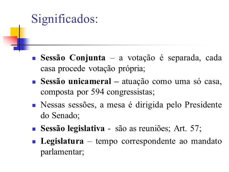 Significados: Sessão Conjunta – a votação é separada, cada casa procede votação própria; Sessão unicameral – atuação como uma só casa, composta por 59