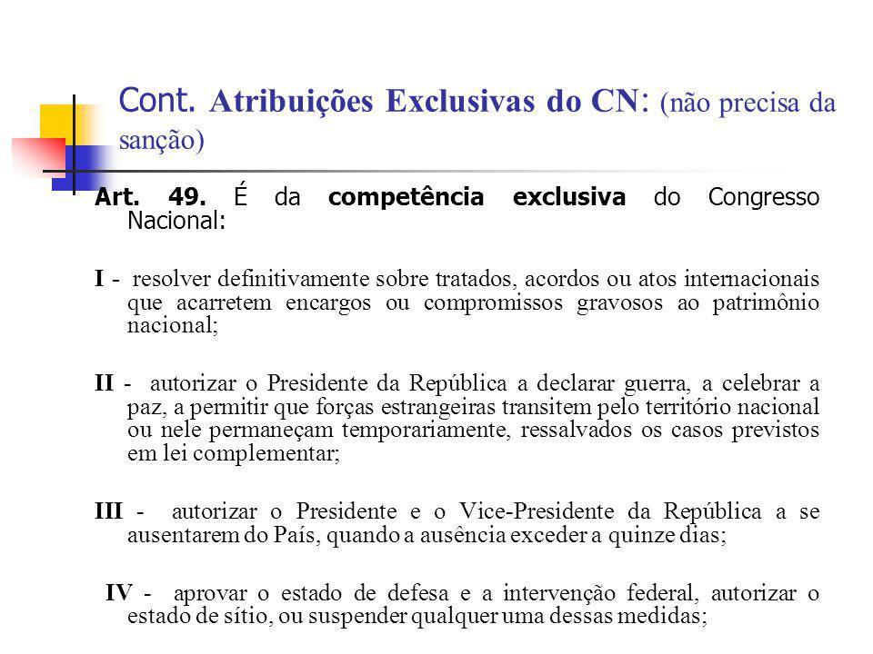 Cont. Atribuições Exclusivas do CN : (não precisa da sanção) Art. 49. É da competência exclusiva do Congresso Nacional: I - resolver definitivamente s
