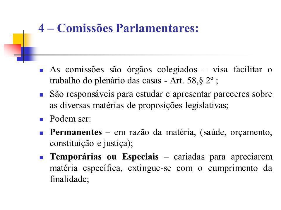 4 – Comissões Parlamentares: As comissões são órgãos colegiados – visa facilitar o trabalho do plenário das casas - Art. 58,§ 2º ; São responsáveis pa
