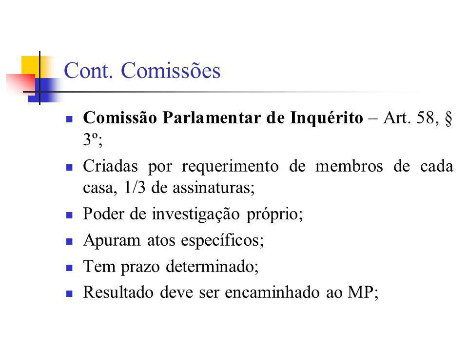 Cont. Comissões Comissão Parlamentar de Inquérito – Art. 58, § 3º; Criadas por requerimento de membros de cada casa, 1/3 de assinaturas; Poder de inve