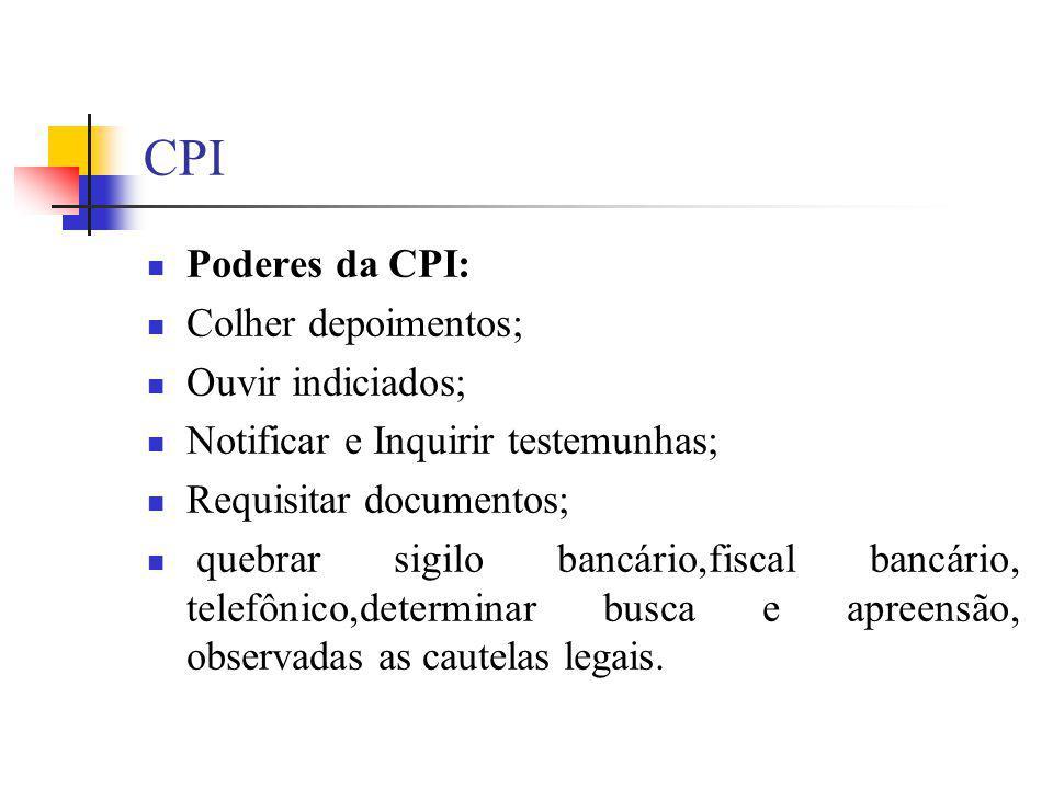 CPI Poderes da CPI: Colher depoimentos; Ouvir indiciados; Notificar e Inquirir testemunhas; Requisitar documentos; quebrar sigilo bancário,fiscal banc