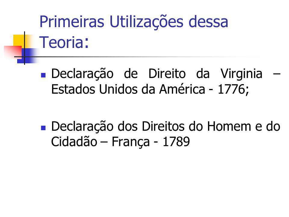 Primeiras Utilizações dessa Teoria : Declaração de Direito da Virginia – Estados Unidos da América - 1776; Declaração dos Direitos do Homem e do Cidad