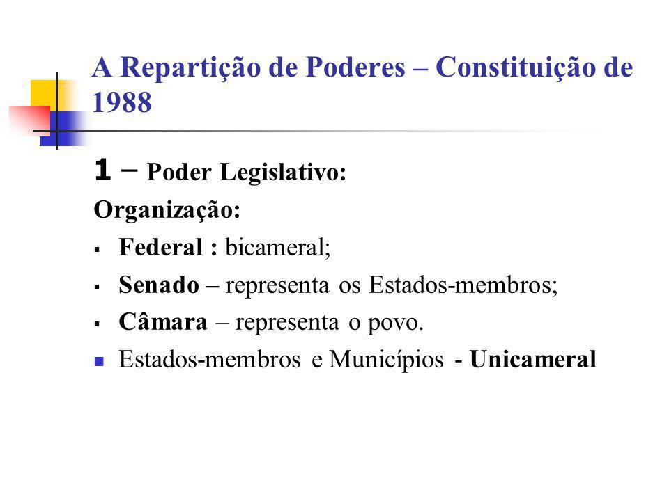 A Repartição de Poderes – Constituição de 1988 1 – Poder Legislativo: Organização:  Federal : bicameral;  Senado – representa os Estados-membros; 