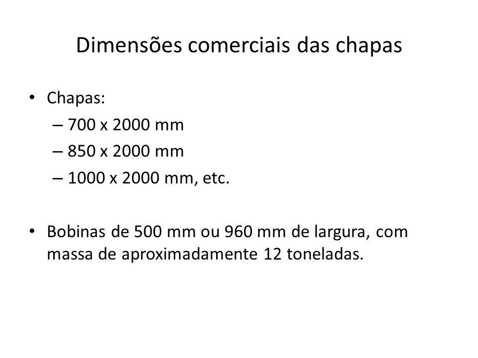 Dimensões comerciais das chapas Chapas: – 700 x 2000 mm – 850 x 2000 mm – 1000 x 2000 mm, etc. Bobinas de 500 mm ou 960 mm de largura, com massa de ap