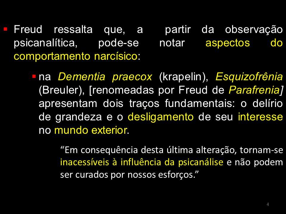  Freud ressalta que, a partir da observação psicanalítica, pode-se notar aspectos do comportamento narcísico:  na Dementia praecox (krapelin), Esqui