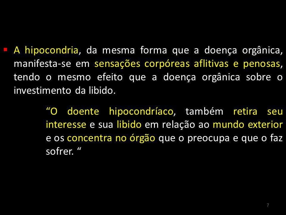  A hipocondria, da mesma forma que a doença orgânica, manifesta-se em sensações corpóreas aflitivas e penosas, tendo o mesmo efeito que a doença orgâ
