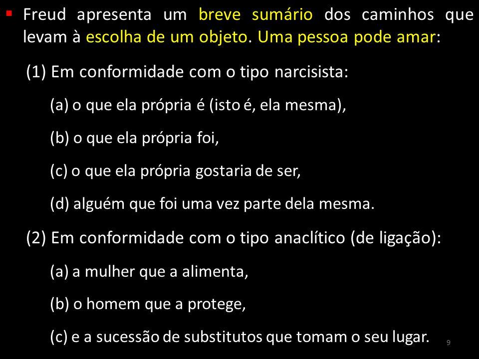  Freud apresenta um breve sumário dos caminhos que levam à escolha de um objeto. Uma pessoa pode amar: (1) Em conformidade com o tipo narcisista: (a)