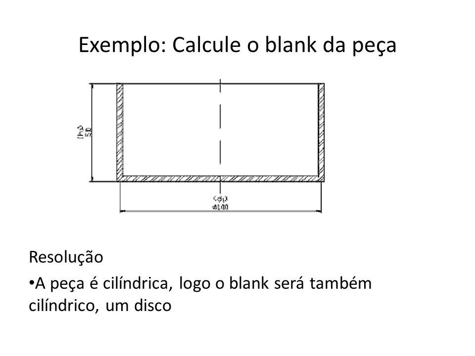 Exemplo (cont.) Área do blank = Área da peça (um superfície)