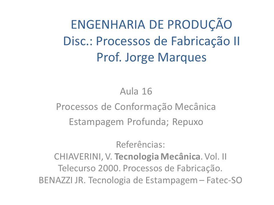ENGENHARIA DE PRODUÇÃO Disc.: Processos de Fabricação II Prof. Jorge Marques Aula 16 Processos de Conformação Mecânica Estampagem Profunda; Repuxo Ref