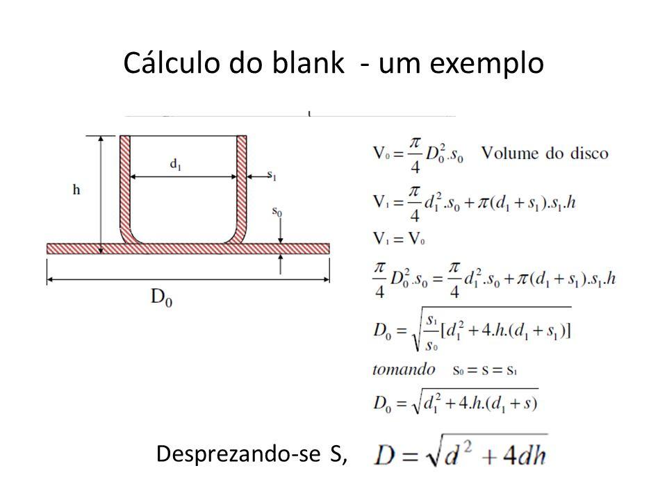Cálculo do blank - um exemplo Desprezando-se S,