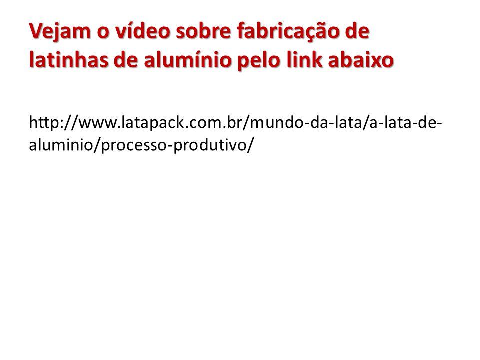 Vejam o vídeo sobre fabricação de latinhas de alumínio pelo link abaixo http://www.latapack.com.br/mundo-da-lata/a-lata-de- aluminio/processo-produtiv